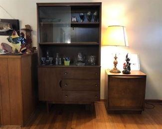 MCM Mid Century Modern Hutch, Record Cabinet, Glassware