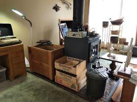 CB Radio, Crates, Fireplace items
