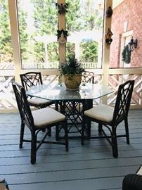 Glass table and 4 chairs for patio