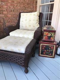 Wicker patio chair + ottoman