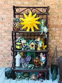 Patio bakers rack + yard ornaments