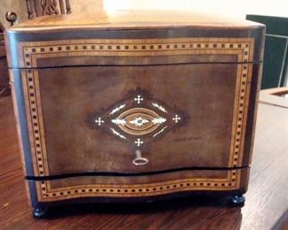 Rare French 19th century marquetry inlaid  tantalus  with original etched decanters and stemware.