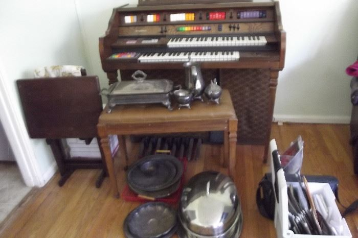 Kimball Organ with Bench. Assorted Dinner Serving Items