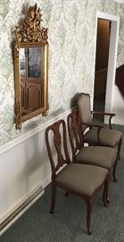 GILDED MIRROR, UPHOLSTERED DINING CHAIRS
