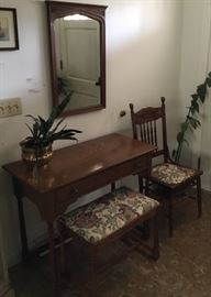 WRITING DESK, VINTAGE MIRROR, UPHOLSTERED BENCH AND ANTIQUE CHAIR