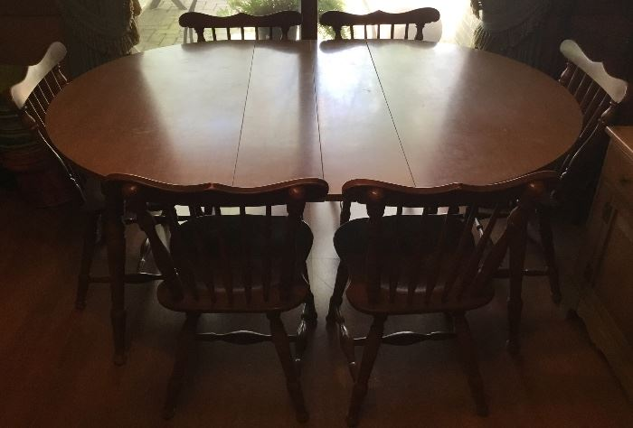 VINTAGE TABLE, 6-CHAIRS, 2-LEAVES
