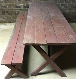 PICNIC TABLE W/TWO BENCHES