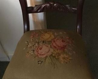 ANTIQUE CHAIR W/NEEDLEPOINT SEAT