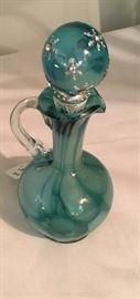 VINTAGE AQUA GLASS CRUET W/STOPPER