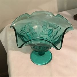 VINTAGE TURQUOISE GLASS COMPOTE