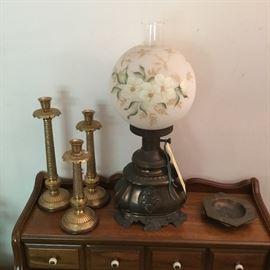BRASS CANDLESTICKS, ANTIQUE PARLOR LAMP, BRASS ASHTRAYS