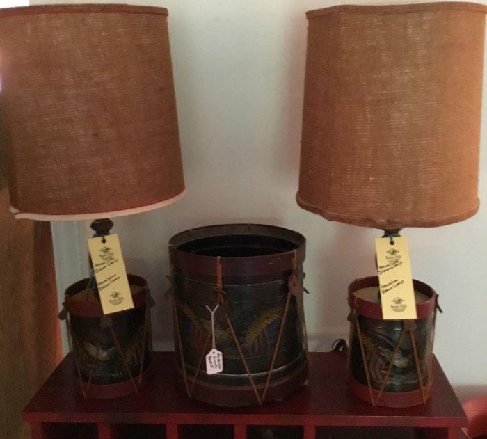 AMERICANA DECOR LAMPS AND WASTEBASKET