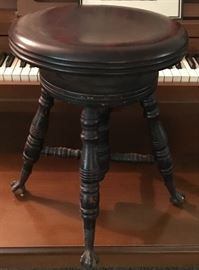 ANTIQUE CLAW FOOT (W/GLASS BALL) PIANO STOOL