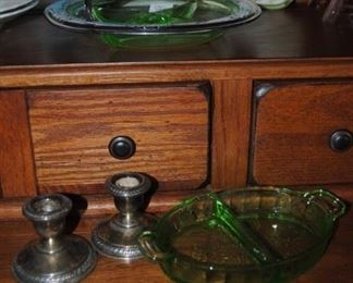 Green depression pieces and weighted STERLING small candlesticks