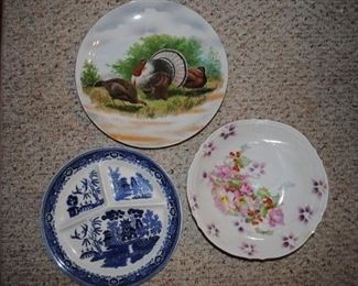 Blue Willow divided plate and handpainted plates