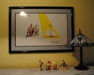 Speechless Mel Blanc framed and matted print, Looney Tunes stain glass lamp and 4 fgiures