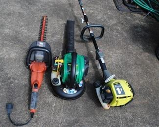 Black and Decker hedge trimmers, Weedeater FB25 Blower and Ryobi S430 Weed eater