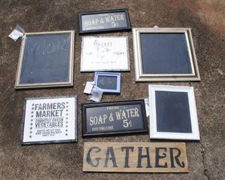 Great selection of signs and framed chalkboards