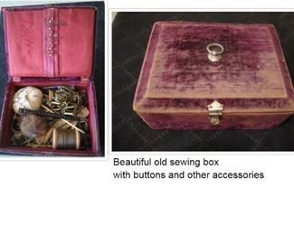 Old sewing box with buttons and other accessories.