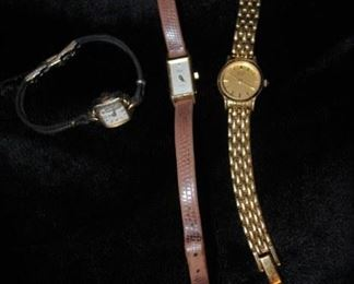 Hamilton watch with gold fill clasp, Timex and Pulsar ladies watches