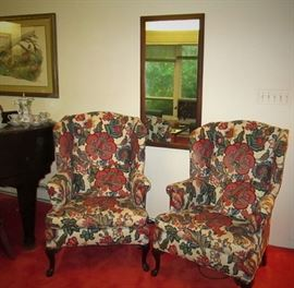 Pair Wing Backed Chairs