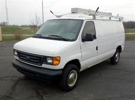 2003 Ford E250 Econoline 3 Door Cargo / Work Van, V8, 5.4L, Interior Shelving, Tool Boxes, Weather Guard Ladder Rack, 219,755 Miles, VIN # 1FTNE24L43HB34913