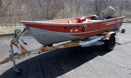 1984 Lowe's Aluminum 14' Jon Boat and Trailer With 1979 Evinrude 25hp Motor