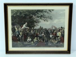 """Hand Colored Lithograph of George Caleb Bingham's """"Stump Speaking"""" On Heavy Textured Paper, Framed 30.25""""W x 23.75""""H"""