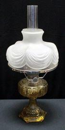 "Aladdin Oil Lamp NU-Type Model B Amber Corinthian, 1935-1936, With Milk Glass Shade 24""H"