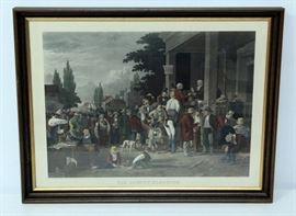 """Hand Colored Lithograph of George Caleb Bingham's """"The County Election"""", Engraved By John Sartain, On Heavy Textured Paper, Framed 30.25""""W x 23.75""""H"""