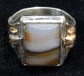 10K Gold And Silver Ring With Gemstone, Size 10 3/4