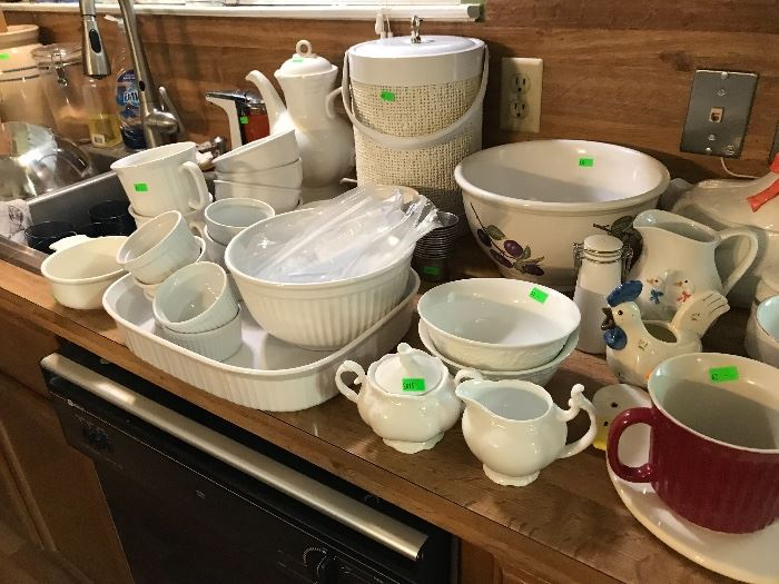 Pyrex and White Corningware