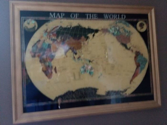World Map precious stones shells