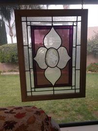 3 pieces of beautiful stained glass.