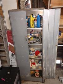 Rounded edge vintage storage cabinet