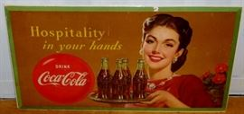 "Vintage 1950 Coca-Cola ""Hospitality in Your Hands"" Cardboard Sign 36"" x 20"""