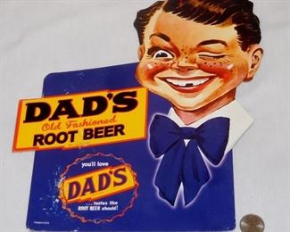 Vintage Dad's Old Fashioned Root Beer Cardboard Standup Advertising Sign