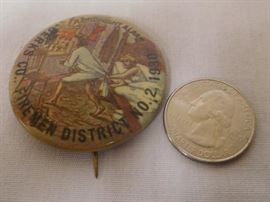 "Vintage 1930 Berk's Co. Firemen District No. 2 ""A Midnight Alarm"" Pinback Button"