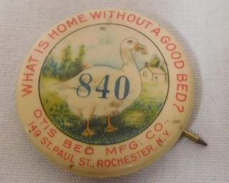 "Vintage c. 1920 Otis Bed Mfg. Co. ""What is Home Without A Good Bed?"" #840 Celluloid Pinback Button"