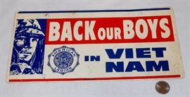 "Vintage US American Legion ""Back Our Boys in Viet Nam"" License Plate"