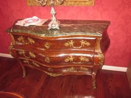 Italian Carved Inlaid Bombe Chest Of Drawers