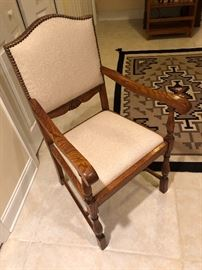 Oak upholstered chair with nail heads