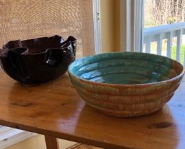 Two signed pottery bowls