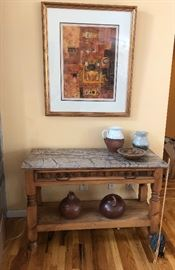 Pine console table with stone top, pottery and gourds.      Large print signed and numbered Diana Hansen 1979.6 TLASCALA   29/200