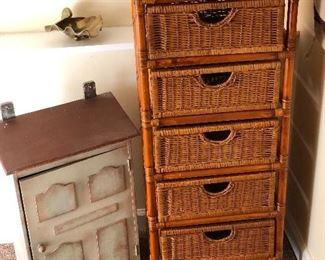 Wall hanging cabinet and rattan 5 drawer chest