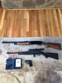 "Winchester model 1300, 12 gauge, Deer slug           Mossberg 702 Plinkster, 22 LR, with Barka scope  4 x20        Baretta ""Tomcat"" model 3032, 32 Auto with case"