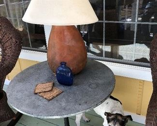"Slate top table and gourd lamp(has crack in back).   ""Spot"" is not for sell but is looking forward to seeing you!"