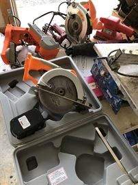 assortment of Chicago power tools, tile cutter