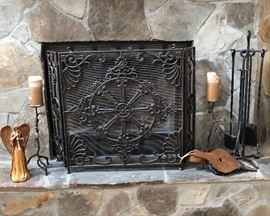 Fireplace cast iron screen, as is.