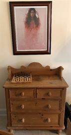 Signed and numbered Ozz Franca  373/3600 and nice pine chest
